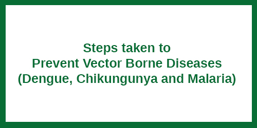 Steps taken to Prevent Vector Borne Diseases (Dengue, Chikungunya and Malaria)